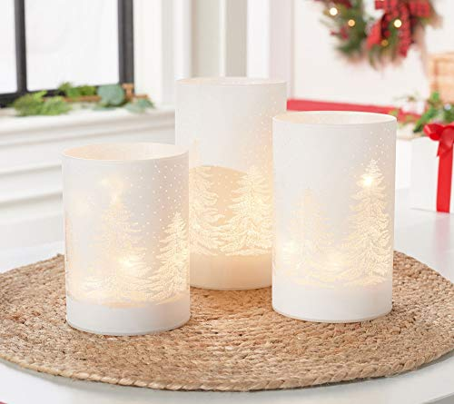 Set of 3 Lit Pillars with Sparkling Tree Scene by Valerie 0 CF3