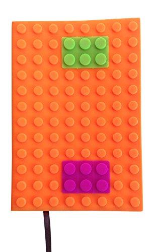 Notizbuch, Tagebuch für Kinder Tagebuch, Schreibblöcke, Buch | Bunte Bausteine - Silikonhülle | Verwendung für Büro und Zuhause Weiches Papier, liniert, für Jungen und Mädchen A5 single Orange