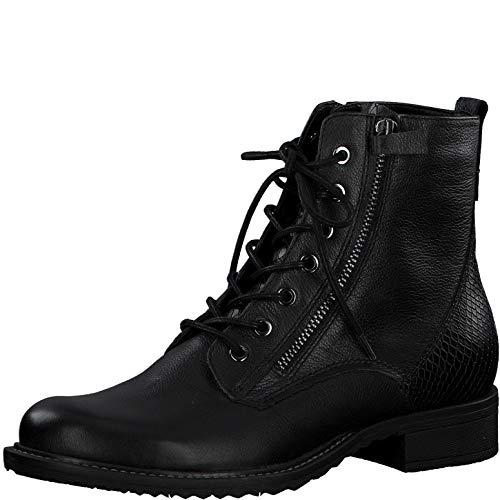 Tamaris Damen Stiefel, Frauen Schnürstiefel, Freizeit leger Boots Combat schnürung weiblich Lady Ladies Women's Women,Black/Snake,39 EU / 5.5 UK