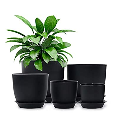 HOMENOTE Plastic Planter, 7/6/5.5/4.5/3.5 Inch Flower Pot Indoor Modern Decorative Plastic Pots for Plants with Drainage Hole and Tray for All House Plants, Succulents, Flowers, and Cactus, Black