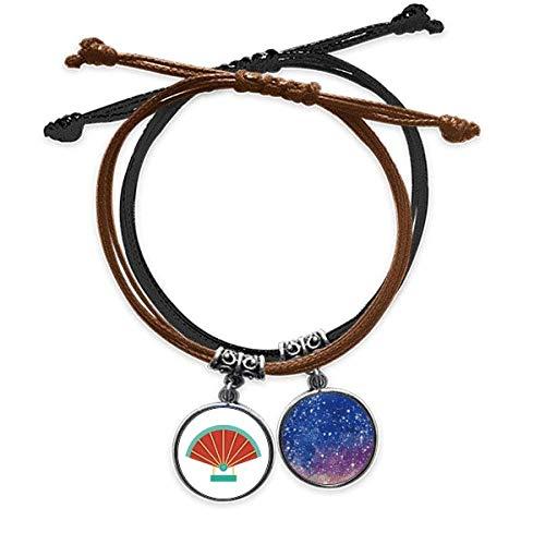 Bestchong Armband mit Anhänger aus Porzellan, Art-déco-Stil, Geschenk, mit Kordel, Handkette, Leder, Sternenhimmel-Armband