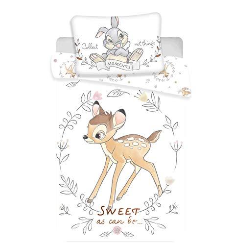 Bambi Juego de cama infantil (2 piezas, 100% algodón, 40 x 60 cm y 100 x 135 cm), diseño de Disney