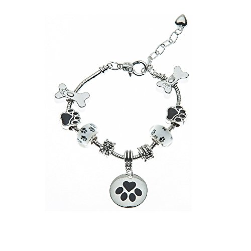 Infinity Collection Dog Charm Bracelet - Paw Print Jewelry- Dog Lovers Bracelet- Dog Owner Bracelet for Dog Lovers