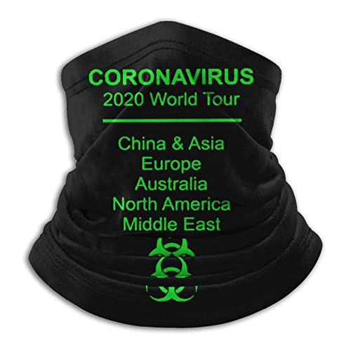 Cor-onaVirus World Tour Unisex Microfiber Neck Warmer Gaiter Shieldask Dust Face Bandanas & Face Mask Black
