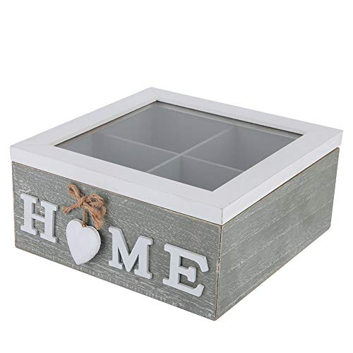 Caja de almacenamiento de joyeria de madera para te en casa, oficina, escritorio, adorno decorativo para regalo, caja de almacenamiento de te
