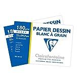 Clairefontaine 196155AMZC - Lot de 2 - Pochette Dessin Scolaire - 12 Feuilles Papier Dessin Blanc à Grain - A4 21x29,7 cm 180g - Idéal pour les Arts Plastiques