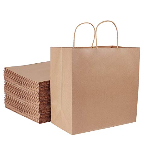 """Large Paper Bags, Kslong Brown Paper Bags 100pcs 11x6x11"""" Kraft Shopping Bags with Handles, Paper Shopping Bags, Grocery Bags, Gift Bags, Retail Bags(11"""