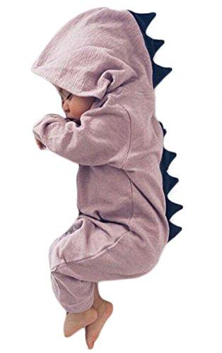 Baby Boy Girl Animal Dinosaur Long Sleeve Hooded Romper Baby Costumes Jumpsuit 6-12 Months(Tag 80) (Purple)