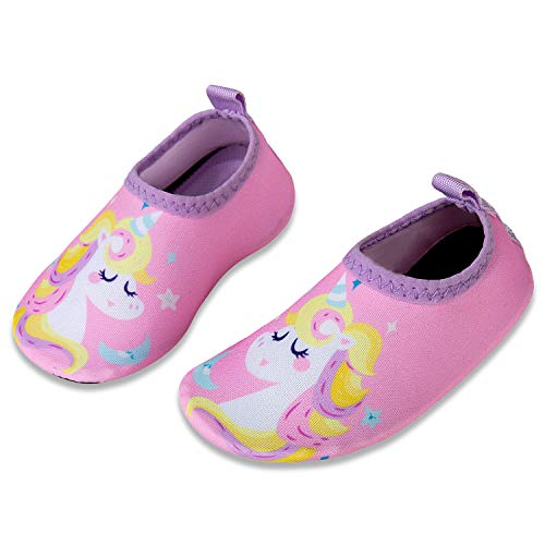 IceUnicorn Dziecięce buty na plażę, dla chłopców i dziewczynek, buty do pływania, buty do wody, buty do kąpieli, na plażę, basen, surfowanie, jogę, uniseks, - ró?owy jednoro?ec - 32/33 EU