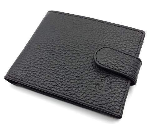 franartPiel - Cartera, billetera, tarjetero, monedero tipo americano Piel Ubrique con cierre de trabilla - Alta Calidad - Negro