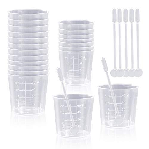 Lvcky 20 Stück 60 ml transparente Polypropylen-Plastikbecher mit 20 Rührstäben zum Mischen von Farbe, Flecken, Epoxidharz