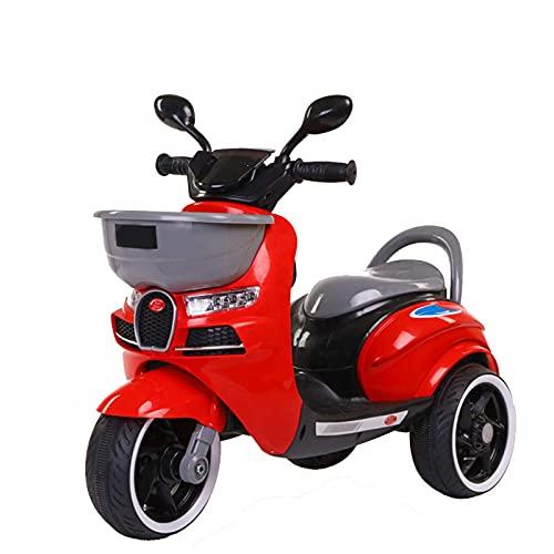 XLAHD Motocicleta eléctrica para niños, Juguete para Montar, Triciclo de 3 Ruedas, para niños, con Pilas, Juguetes para niños y niñas, niños pequeños y más, Rojo
