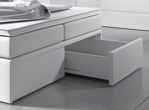 Boxspringbett 140×200 Weiß mit Bettkasten LED Kopflicht Hotelbett Polsterbett Venedig - 4
