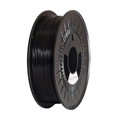 MAKE A SHAPE Filamento PLA per Stampanti 3D 1.75 mm, tolleranza dimensionale +/- 0,02 mm, bobina da 500g, Nero