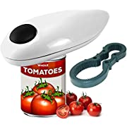 WHATEVER WORKS Electric Can Opener - Automatic, Battery Operated, One-Touch Kitchen Tool with the Safety of Smooth Edge Lids for Personal & Commercial Use (White)