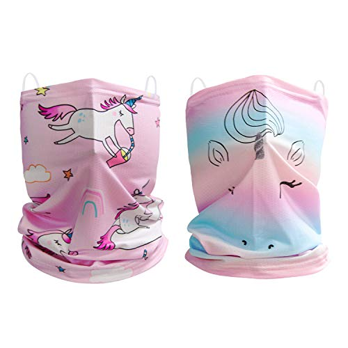 Kids Neck Gaiters 2 Pack Face Covering for Boys Girls Outdoor Sport Bandana Face Scarf Headband, Unicorn