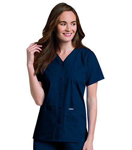 Landau Women's Premium 4-Pocket Classic Fit Snap Front V-Neck Scrub Top, Navy, X-Large