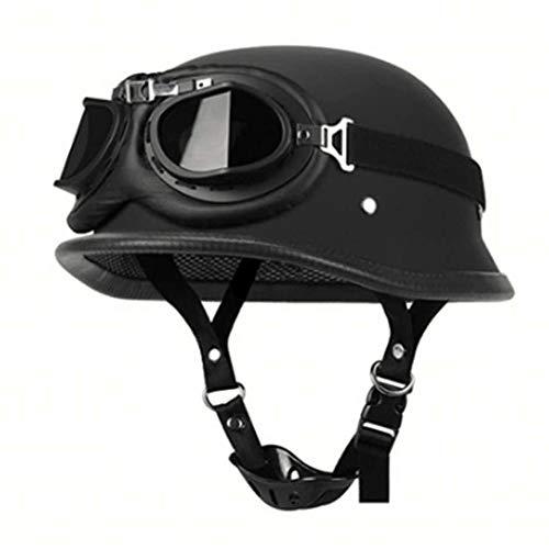 JTYX Motorradhelm mit Fliegerbrille, Eisernes Kreuz Wehrmachtshelm Schwarz, Retro Harley Motorrad Half Helm mit Built-in Visier für Cruiser Chopper Biker