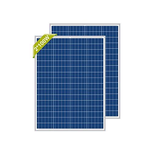 Newpowa, pannello solare, 100 W (Watt), 12 V (Volt), 2 pezzi, policristallino, ad alta efficienza, fotovoltaico, in policarbonato, per camper, case, giardino, barche