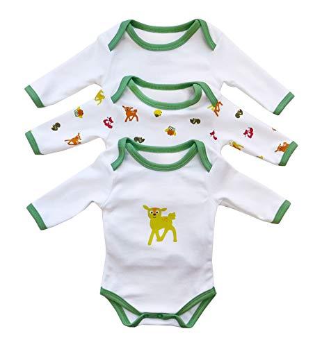 Schlummersack Baby body met lange mouwen voor meisjes en jongens van 100% katoen in 3-pack in verschillende maten 86 bosdieren