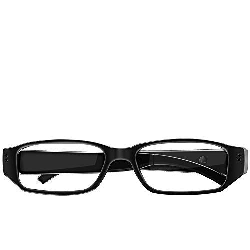 Umanor Cámara oculta Gafas, cámara del espía de la manera, registrador video del lazo, mini cámaras de la nana, negro