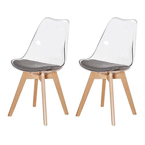 DORAFAIR 2er Set Stuhl Esszimmerstühle Küchenstühle Wohnzimmerstuhl, Stühle Skandinavisch mit Grauem Stoffkissen und Buchenholzbeine,Transparent Grau
