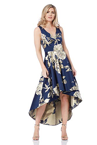 Roman Originals Vestido de mujer con estampado floral jacquard metálico – Vestido de bola con dobladillo asimétrico y dobladillo asimétrico para mujer