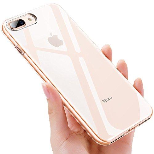 Ubegood, custodia per iPhone 8 Plus, custodia protettiva per iPhone 7 Plus, anti-shock e antigraffio, in silicone TPU di alta qualità, cover morbida per iPhone 8 Plus/iPhone 7 Plus, trasparente