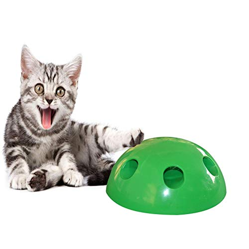 PanDaDa Pops N' Play Interactive Motion Cat Toy, Includes: Electronic Smart Random Moving Feather Mouse Teaser Toy, Mouse Squeak Sound Optional Auto Shut Off. Best Cat Toy Ever