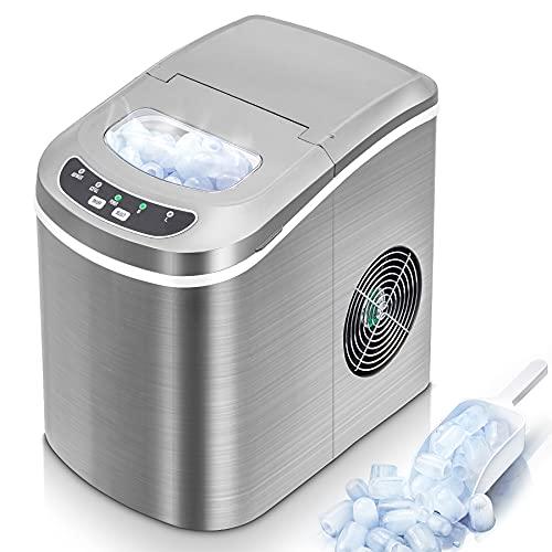 Máquina para Hacer Hielo 9 Cubitos de Hielo Listos en 6-12 Min,12-15kg/24H, Pantalla LED Máquina de hielo para el hogar con Tanque de Agua 2L