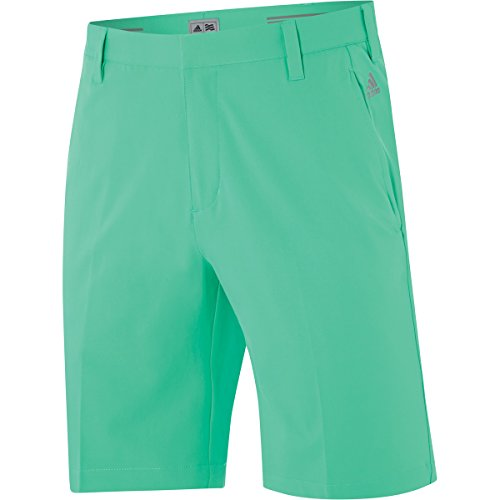 2015 Adidas Puremotion Stretch 3-Stripes Mens Golf Flat Front Shorts Bright Green/Mid Grey 32