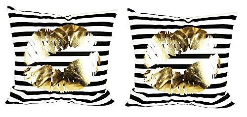 2 kussenslopen vierkant kussen - sierkussen - 44 x 44 cm - bank - linnen - huis - bed - meubels - slaapkamer - kus - strepen - goud bedrukt - mond - zwart en wit - cadeau-idee