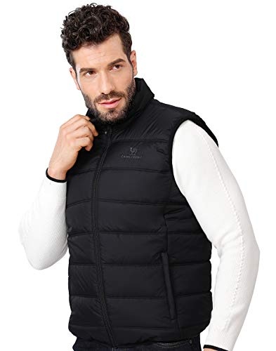 CAMEL CROWN Puffer Vest Men Quilted Winter Padded Sleeveless Jackets Gilet for Casual Work Travel Outdoor Black XXL