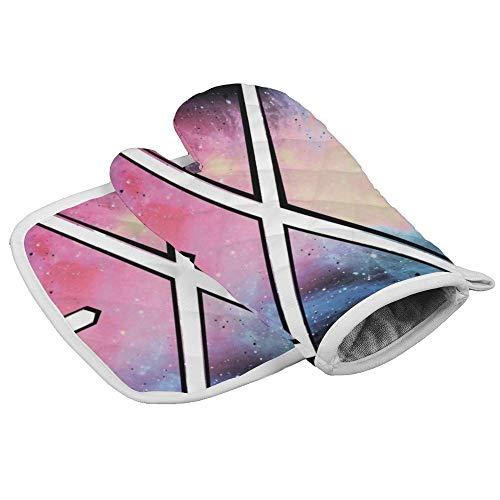 Nebula Prism Space Symbol Driehoek Professionele Hittebestendige Magnetron BBQ Oven Isolatie Verdikking Katoen Handschoenen Bakken Pot Mitts Zachte Binnenvoering Keuken Koken door Novelty Handschoenen