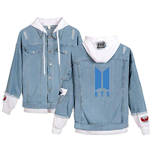 LALLing Unisex Jeansjacke Hoodie Kpop BTS MAP of The Soul 7 Jeans Mantel Knopf Sweatshirt Vliese Kostüm Herbst Winter Oberbekleidung