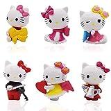 Hello Kitty Cake Decorazione - YUESEN 6Pcs Hello Kitty Grande Regalo per i Bambini per Mini Figurine Mini Giocattoli per la Decorazione della Torta della Festa di Compleanno