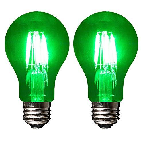 SleekLighting LED 6Watt Filament A19 Green Colored Light Bulbs – UL Listed, E26 Base Lightbulb – Energy Saving - Lasts for 25000 Hours - Heavy Duty Glass - 2 Pack