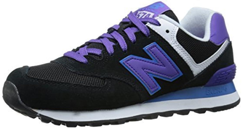 登るパンツ重々しいNew Balance Women's WL574 Core Plus Pack Running Shoe Black/Purple 11 B US [並行輸入品]