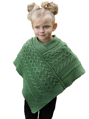 Aran Crafts Kid's Irish Cable Knitted Wool Soft Cape Poncho (SH4563-M4-8-GRE)