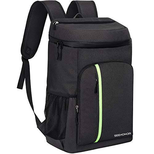 SEEHONOR Insulated Cooler Backpack Leakproof Soft Cooler Bag Lightweight Backpack with Cooler for Lunch Picnic Hiking Camping Beach Park Day Trips, 45 Cans (Black)