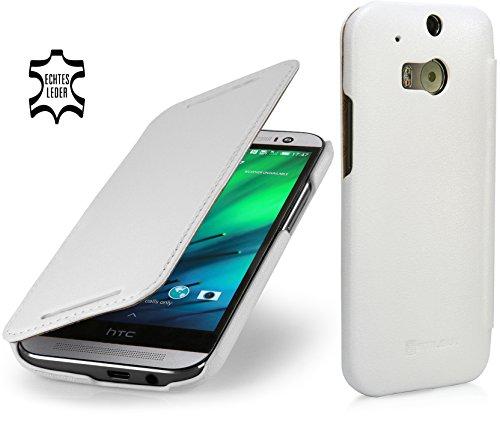 StilGut Book Type Hülle, Hülle Leder-Tasche für HTC One M8. Seitlich klappbares Flip-Hülle aus Echtleder für HTC One M8, Weiß Nappa