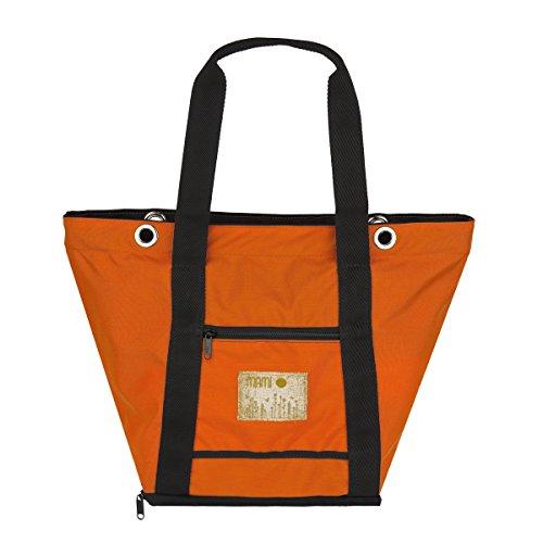 Mami – Sac nursery/à langer avec matelas et poches, grande et légère, universelle pour poussette/landau avec crochets ou bandoulière, Made in Italy, imperméable et incassable Moderne Noir et orange