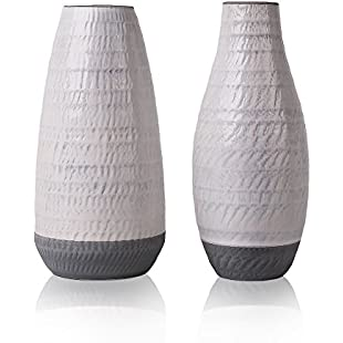 Hannah's Cottage Set of 2 Ceramic Flower Vases Grey Handmade Decorative Vase Concrete Effect of Bottom for Home Decor, Living Room, Kitchen, Table, Home, Office, Wedding, Centerpiece - 22.5/23CM High