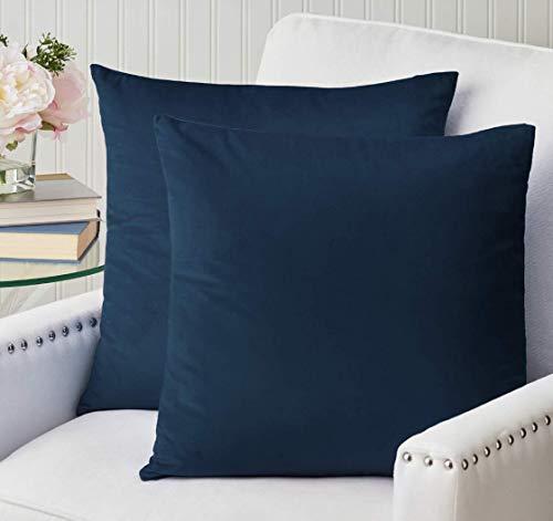 The Connecticut Home Company - Juego de 2 fundas de almohada de terciopelo de lujo, suaves y decorativas, para cama, sala, recámara, sofá, azul, azul marino (Midnight Navy Blue), Set of 2 (18' x 18'), 1