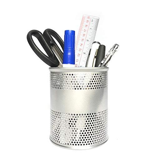 Metal Desk Pen Holder DurablePencil CupDesk Organizerfor Pens, Art Knifes, Scissors, Makeup Brush, Home, School and Office Supplies (Silver)