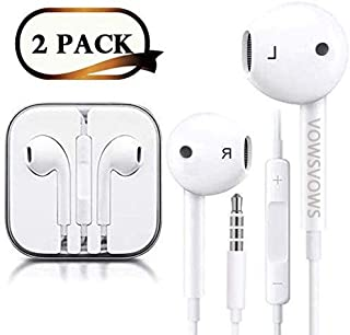VOWSVOWS Headphones/Earphones/Earbuds,3.5mm aux Wired Headphones Noise Isolating Earphones Built-in Microphone & Volume Control Compatible iPhone iPod iPad Samsung/Android/MP3 MP4 (2PACK)(White)