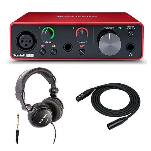 Focusrite Scarlett Solo 3rd Gen USB Audio Interface Bundle with Headphones and XLR Cable