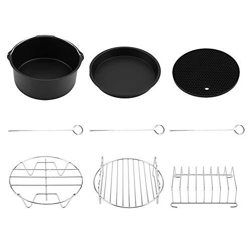 Weikeya - Juego de accesorios de freidora compatibles con libro de recetas, revestimiento de silicona, materiales de calidad alimentaria, acero inoxidable