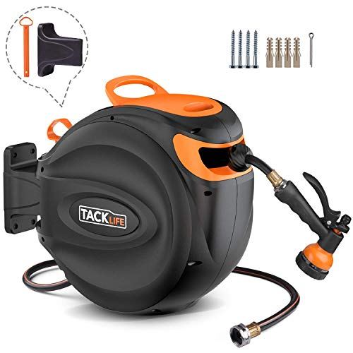 """TACKLIFE Hose Reel, Auto Retractable, 65ft Hose 7ft Wire, 350PSI, 3/4"""" Brass Connector, 180°Pivot, 8 Patterns Hose Nozzle, Pipe Replaceable, Suitable for Garden Watering, Car/Machine Washing HXGHR4A"""