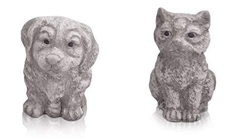 CHICCIE Lot de 2 Figurines de Chat et Chien en céramique Gris/Blanc